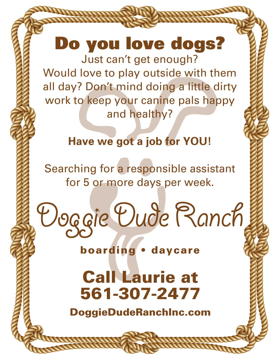Doggie Dude Ranch Help Wanted